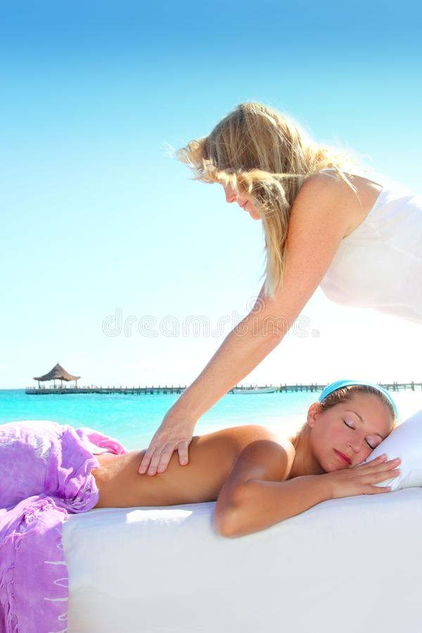 Caribbean Turquoise Beach Massage Woman Stock Image