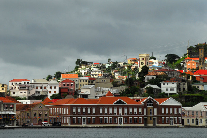 Caribbean under grey sky stock photo