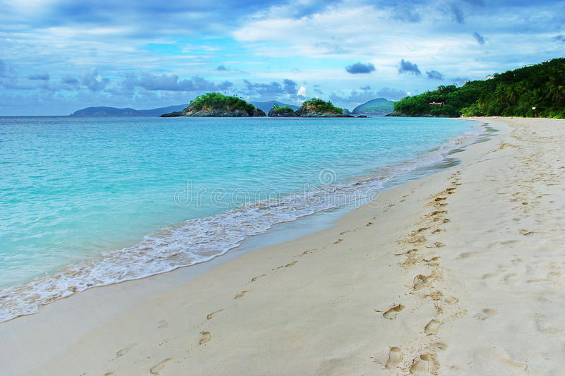 Caribbean View, St. John, US Virgin Island. Trunk Bay, one of the ten best beaches in the world, located on the Caribbean island of St. John, US Virgin Islands royalty free stock photo