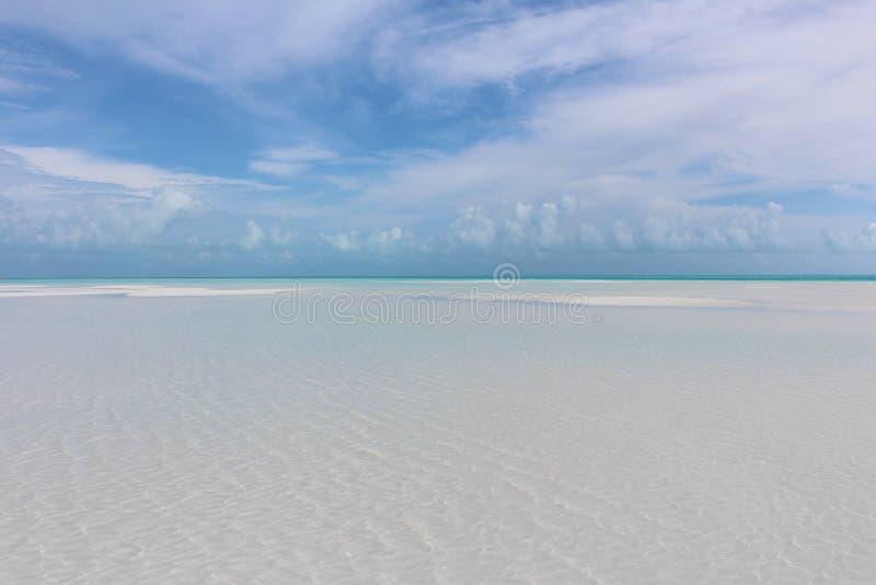 A Caribbean beach in Sandy Cay, Bahamas. A Caribbean white sand beach, Sandy Cay, Exumas, Bahamas stock images