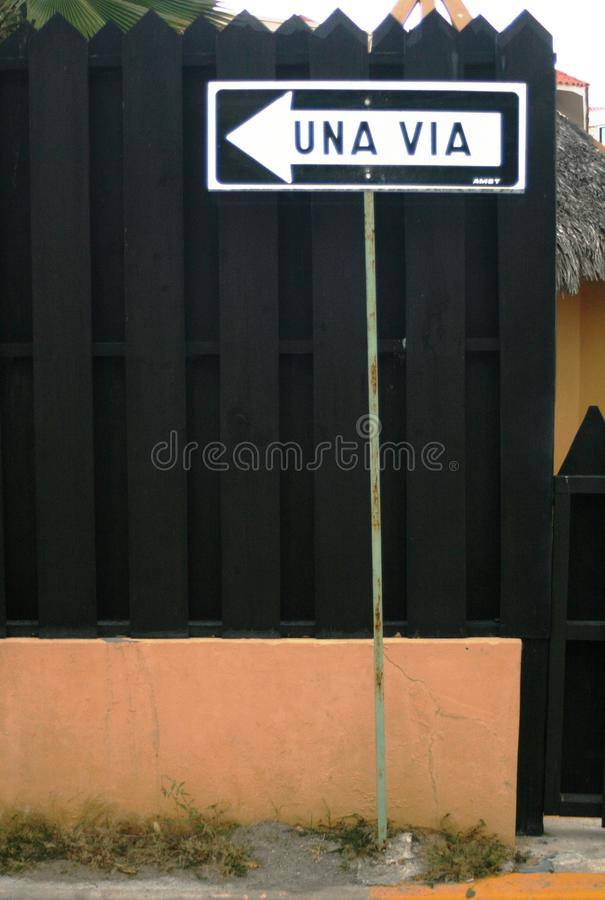 Santo domingo street. Caribben santo domingo one way stock photo