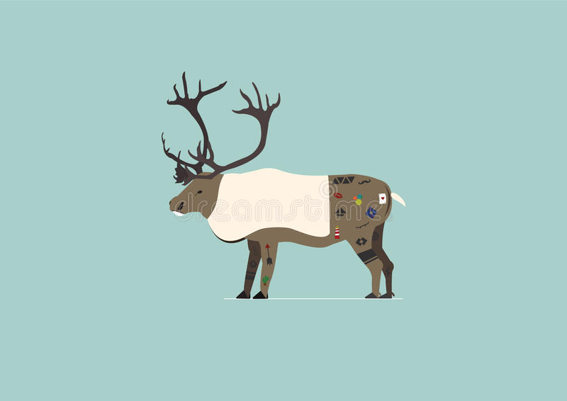 Caribou with tattoos stock image