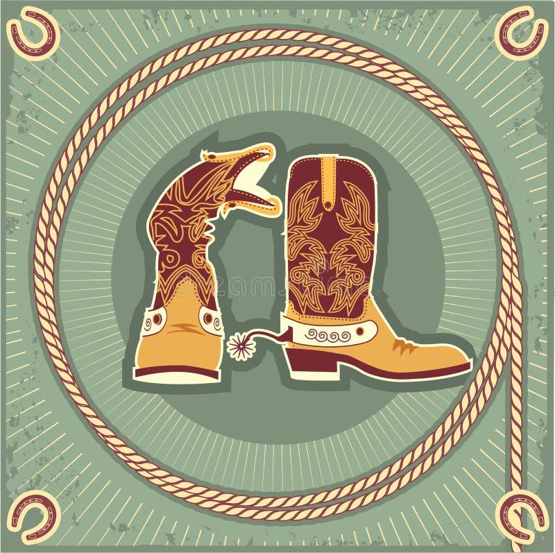 Caricamenti del sistema del cowboy. Annata royalty illustrazione gratis