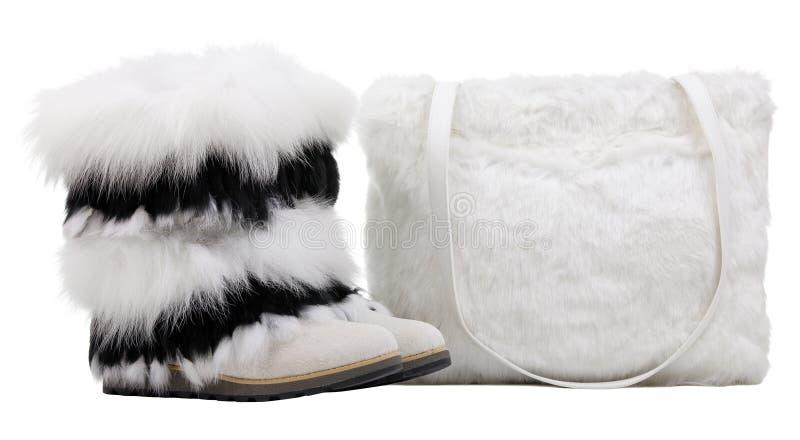 Caricamenti del sistema della pelliccia delle donne e sacchetto di spalla della pelliccia sopra bianco immagini stock libere da diritti