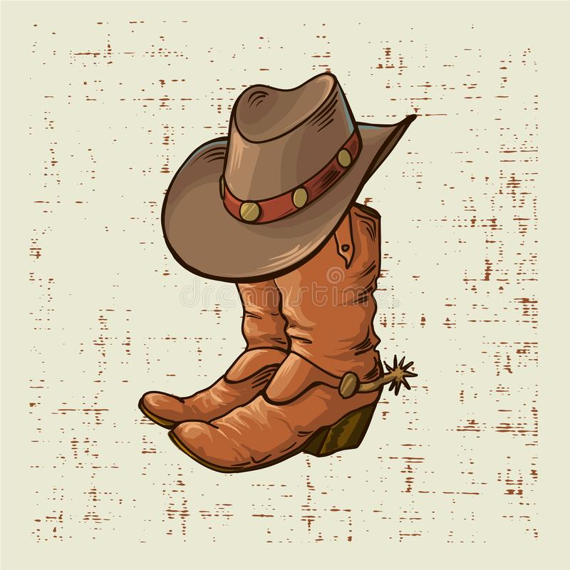 Caricamenti del sistema e cappello del cowboy Illustrazione del grafico di vettore sul vecchio fondo di lerciume illustrazione vettoriale
