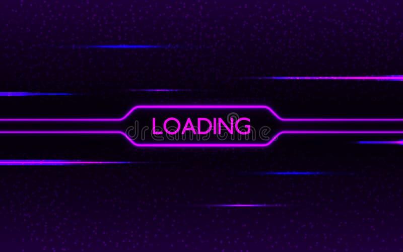 Caricamento al neon di impulso errato Concetto futuristico di Cyberpunk Porpora e luci d'ardore blu sul fondo scuro del pixel cre illustrazione di stock