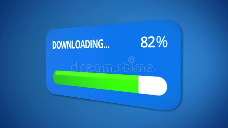 Caricando le informazioni al server, la barra di stato mostra il successo del processo illustrazione vettoriale