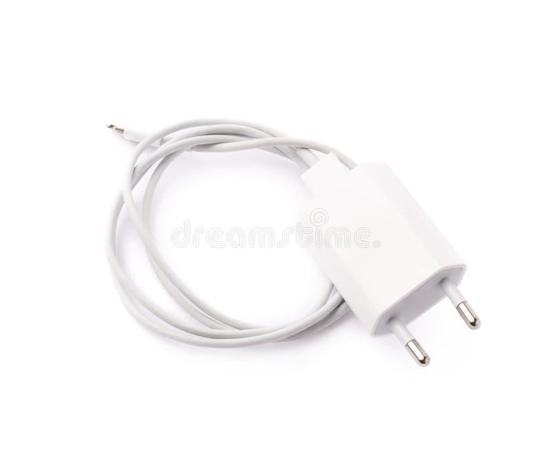 Caricatore bianco dell'adattatore USB isolato immagini stock