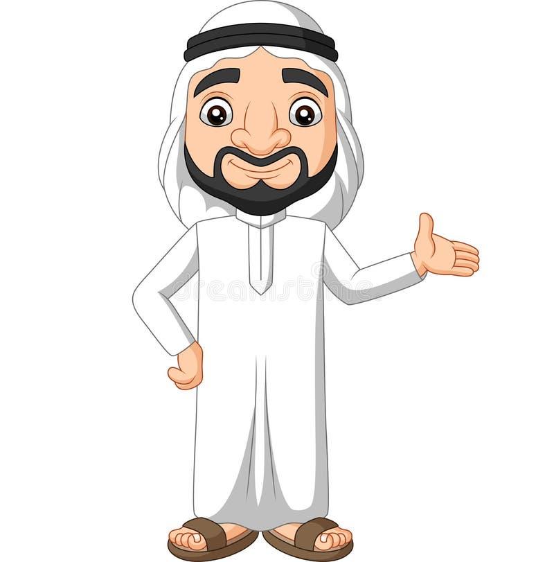 Caricatura árabe saudita acenando ilustração stock
