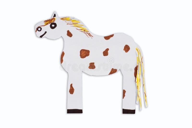 Caricatura abigarrada del caballo cortada del papel aislado en el fondo blanco imagen de archivo libre de regalías
