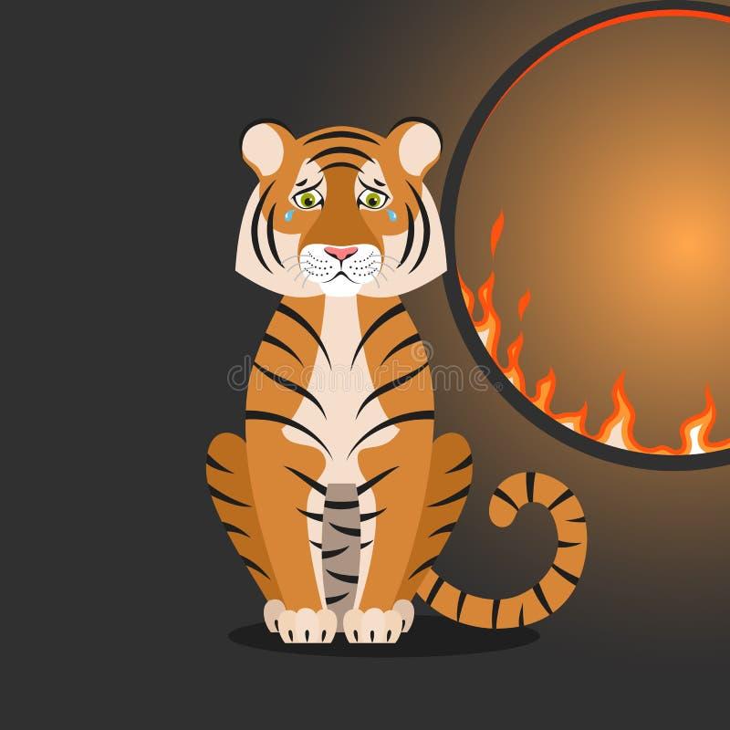 Caricatura aislada sentada tigre naranja cerca de un aro que se enciende sobre fondo negro Un tigre triste y colorido Personaje a stock de ilustración