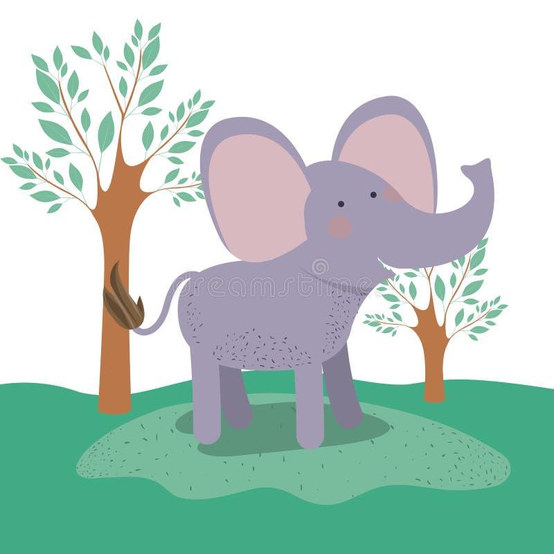 Caricatura animal del elefante en fondo del paisaje del bosque ilustración del vector