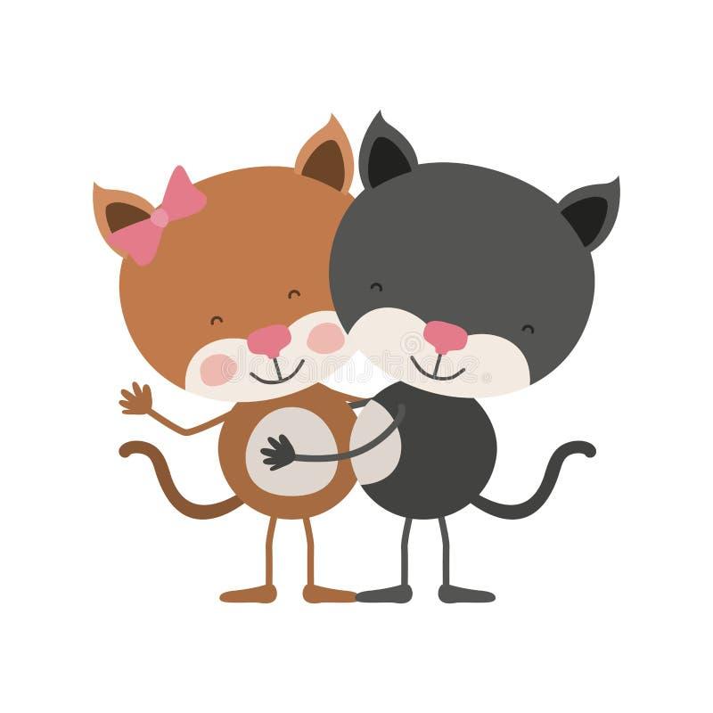 A caricatura colorida com pares de gatinhos abraçou ilustração royalty free