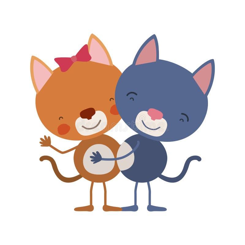 A caricatura colorida com pares de gatos abraçou ilustração do vetor