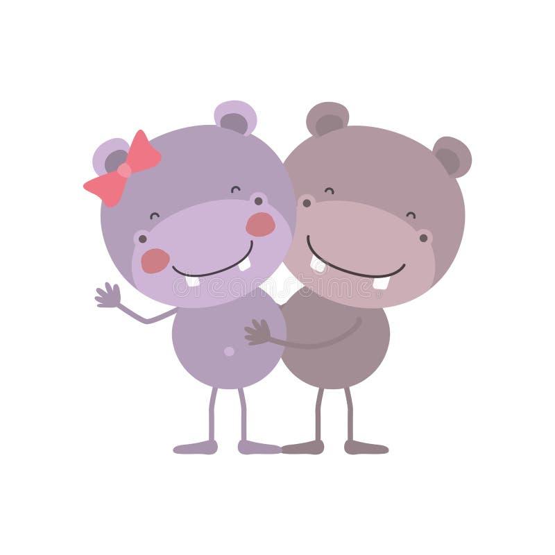 A caricatura colorida com pares de hipopótamos abraçou ilustração stock