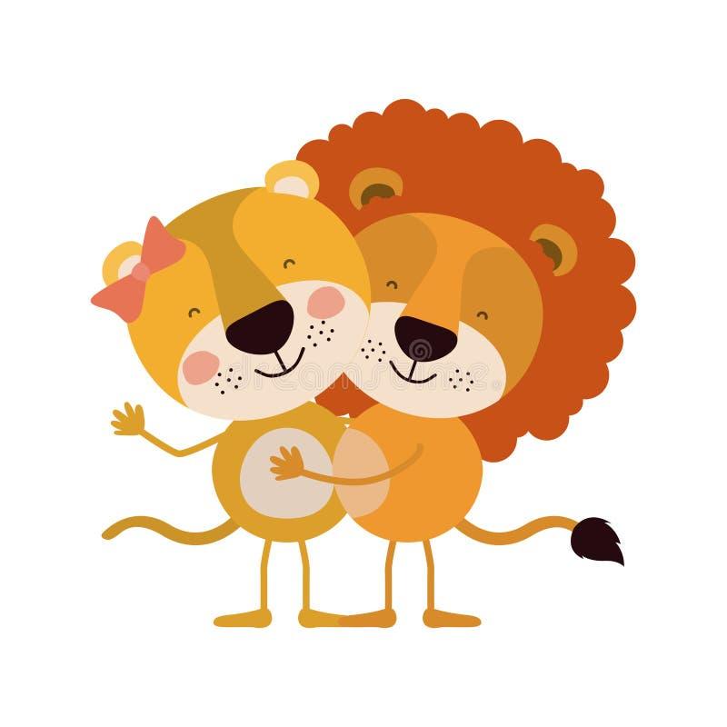 A caricatura colorida com pares de leoa e de leão abraçou ilustração do vetor
