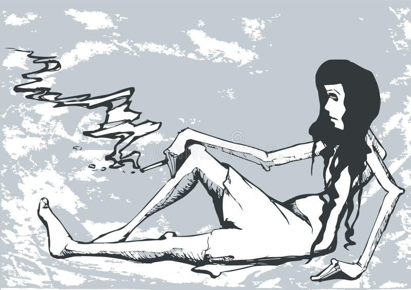 Caricatura da mulher da tristeza ilustração royalty free