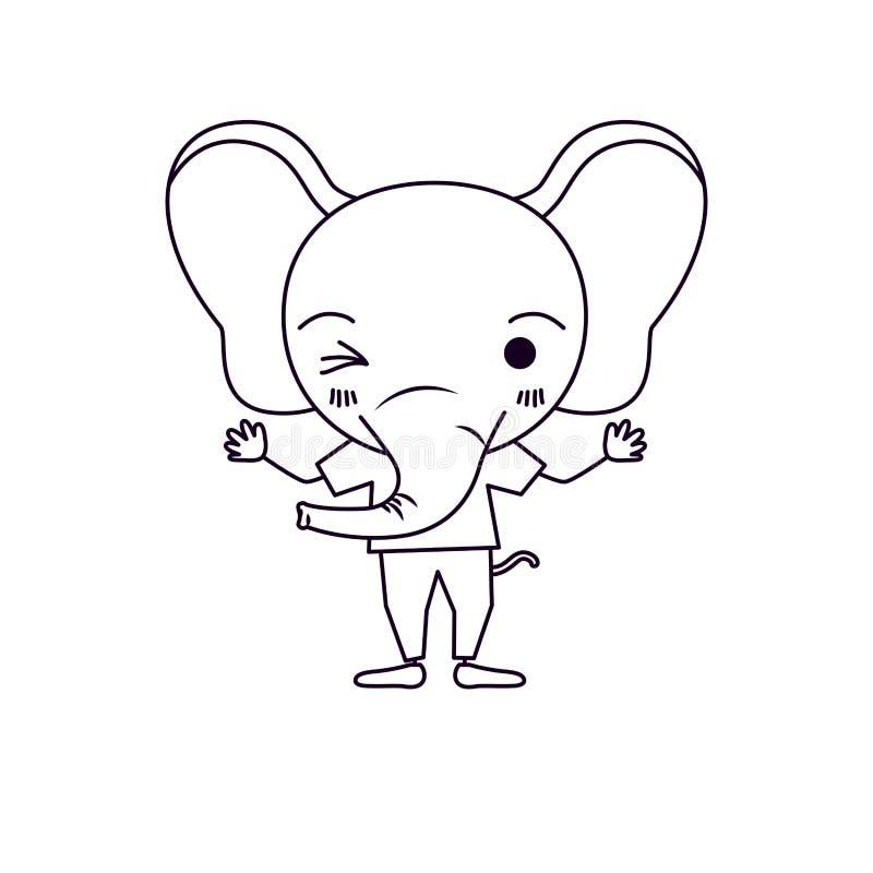 Caricatura da silhueta do esboço da expressão bonito do olho da piscadela do elefante com t-shirt ilustração do vetor