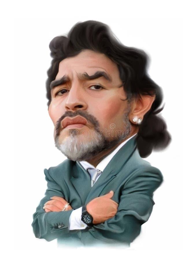 Caricatura de Diego Maradona ilustração stock