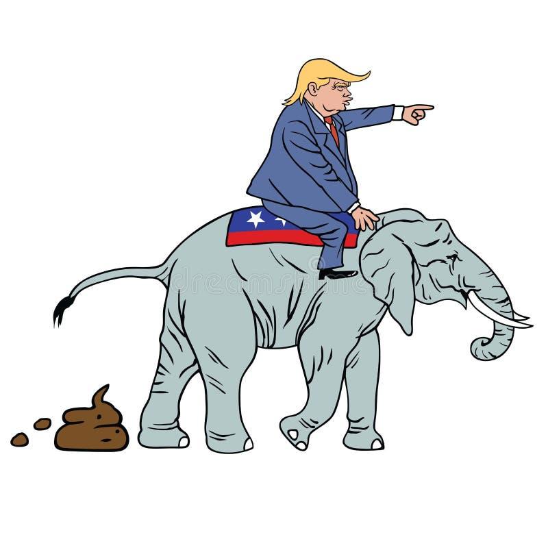Caricatura de Donald Trump Riding Republican Elephant ilustração royalty free