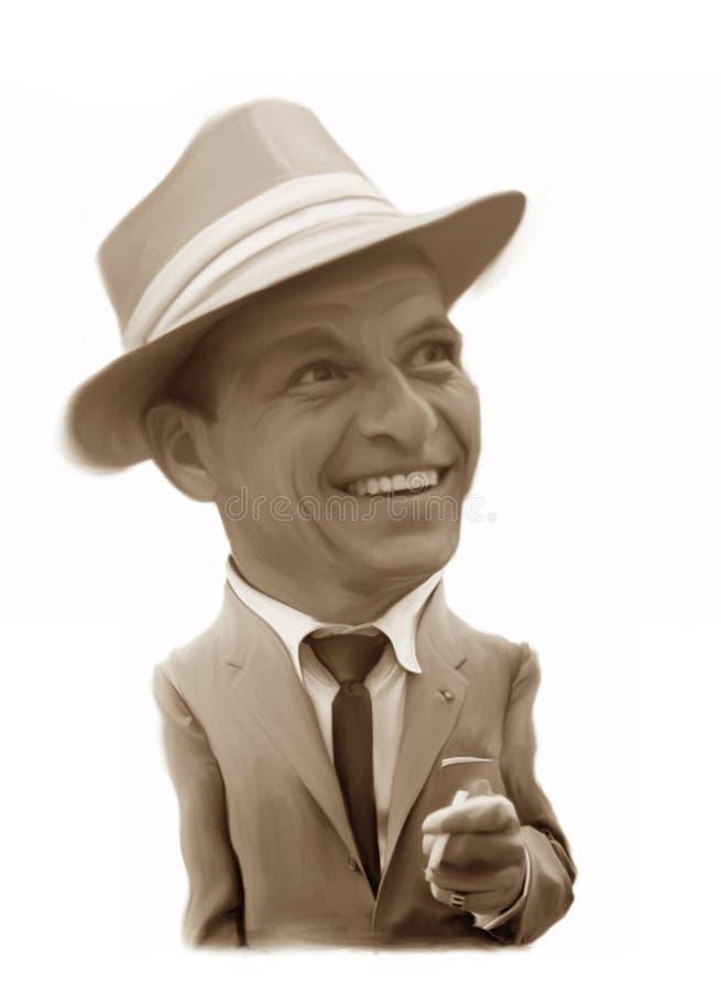 Caricatura de Frank Sinatra ilustração do vetor