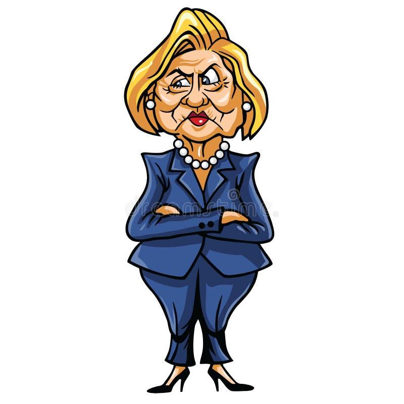 Caricatura de Hillary Clinton, candidato presidencial Democrática do Estados Unidos ilustração stock