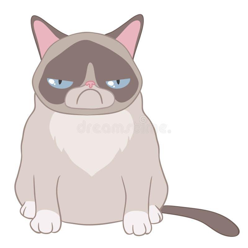 Caricatura de um gato mau em um fundo branco ilustração stock