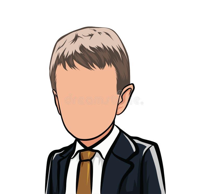 Caricatura de um retrato, cabeça grande dos desenhos animados, avatar ilustração royalty free