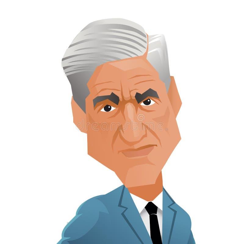 Caricatura del abogado americano y del consejo especial designado Robert Mueller stock de ilustración