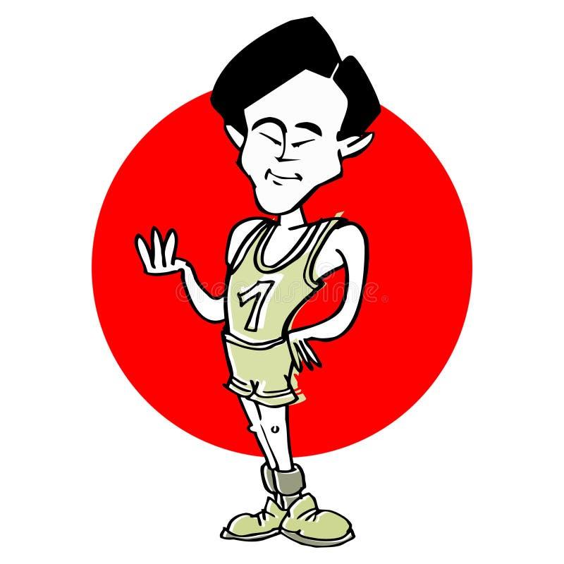 Caricatura del atleta de sexo masculino asiático del corredor, historieta stock de ilustración