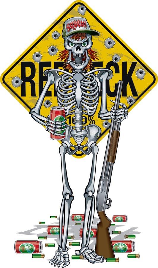 Caricatura del esqueleto de la colina frente al cartel, sosteniendo lata de cerveza y escopeta stock de ilustración