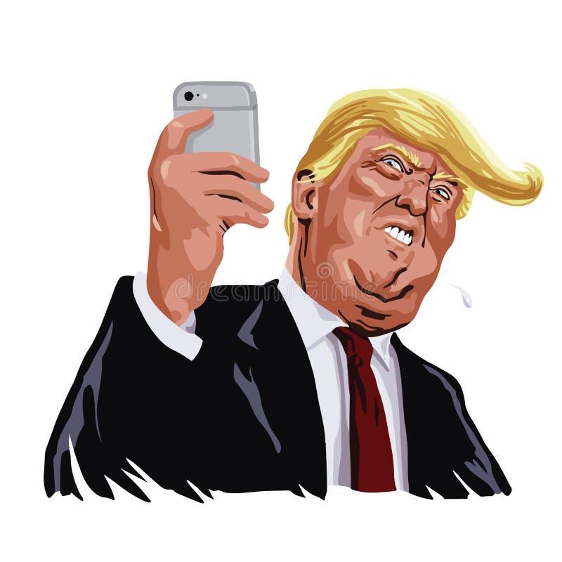 Caricatura del fumetto del ritratto di vettore di media del sociale e di Donald Trump fotografia stock libera da diritti
