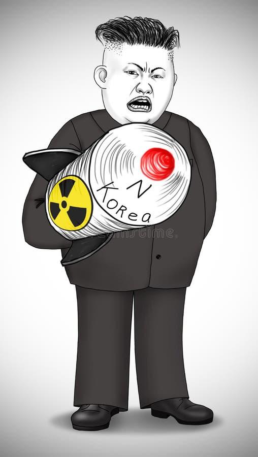 Caricatura del presidente de Corea del Norte con el misil nuclear foto de archivo libre de regalías