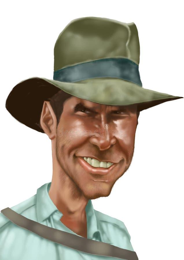 Caricatura dell'Indiana Jones illustrazione di stock