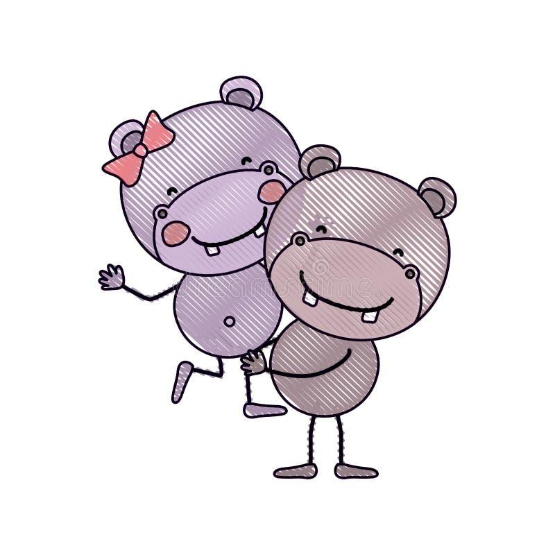 Caricatura della siluetta del pastello di colore con le coppie degli ippopotami uno che portano gli altri animali svegli illustrazione vettoriale