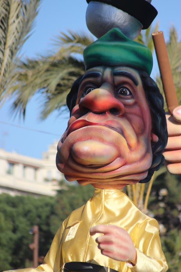 Caricatura di Muammar Gaddafi - carnevale di Nizza immagini stock