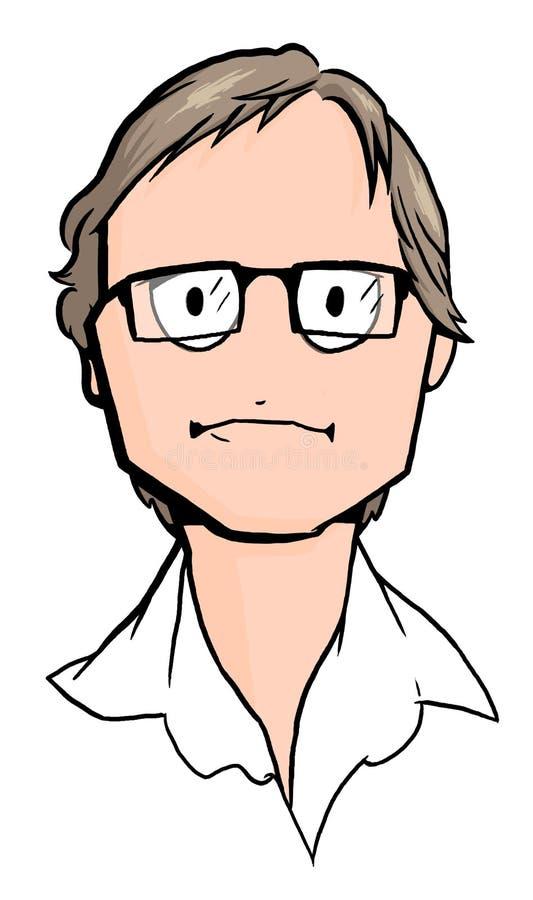 Caricatura do homem novo com vidros imagem de stock