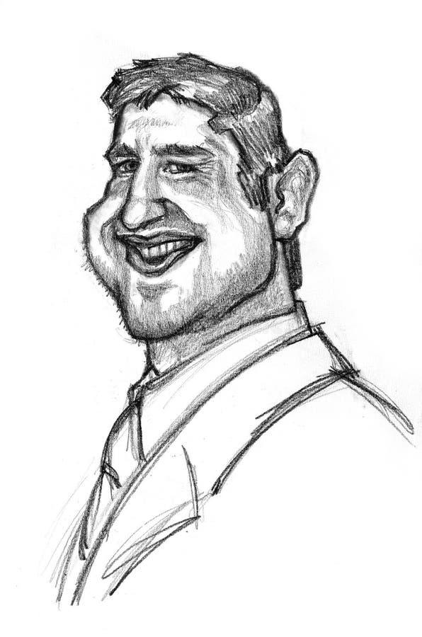 Caricatura do mordomo de Gerard do ator ilustração royalty free