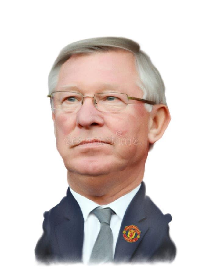 Caricatura do senhor Alex Ferguson ilustração stock