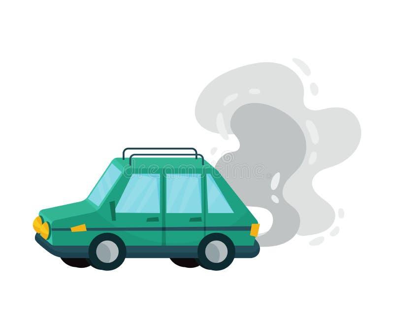 Caricatura en automóvil y proyección de vectores de humo stock de ilustración