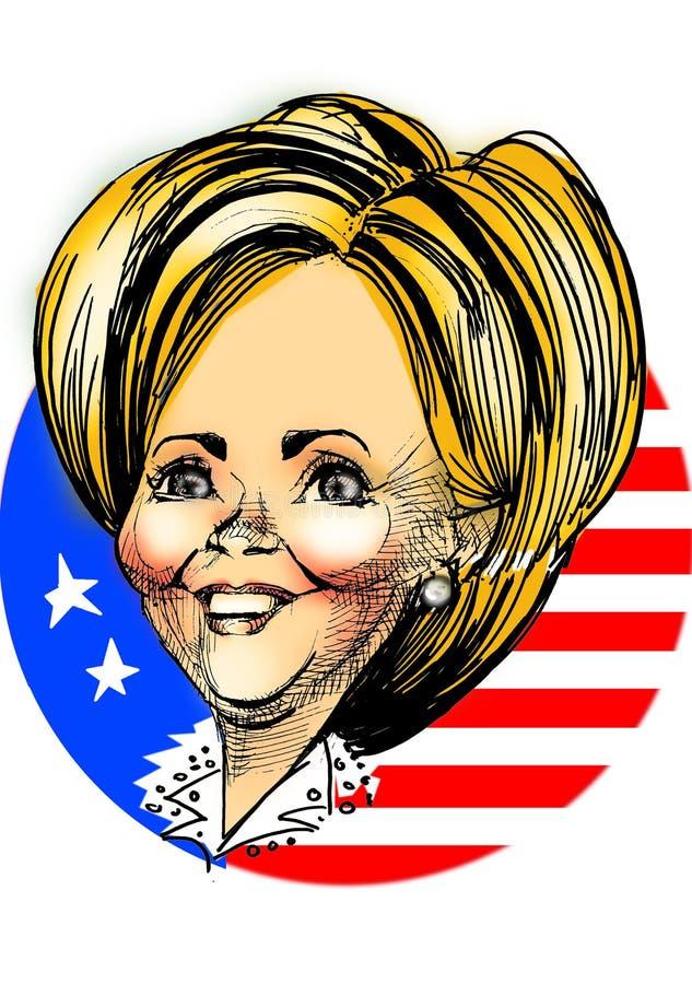 Caricatura - Hillary Clinton stock de ilustración