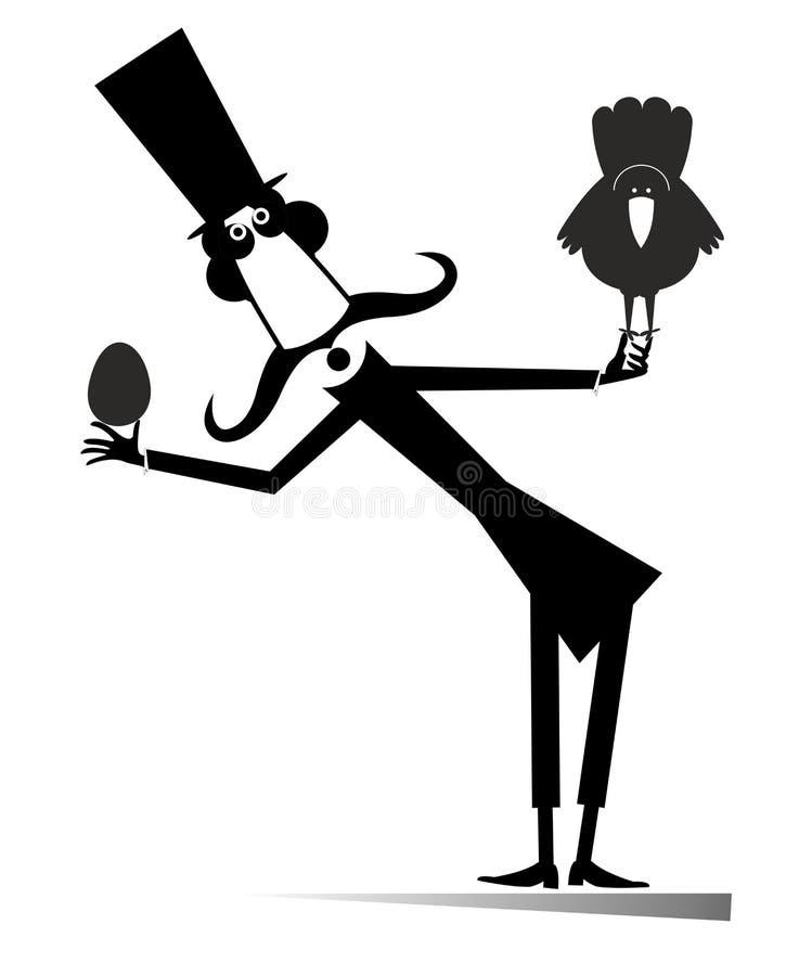 Caricatura: hombre con bigote largo, pollo, ilustración de huevo fotografía de archivo