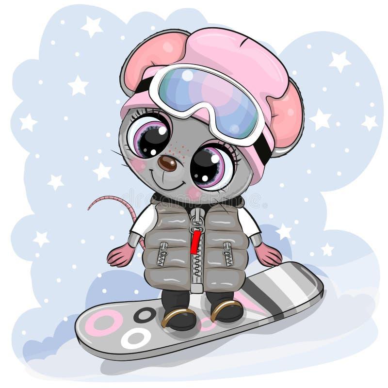 Caricatura Niña del ratón sobre un tablero de nieve de fondo azul stock de ilustración