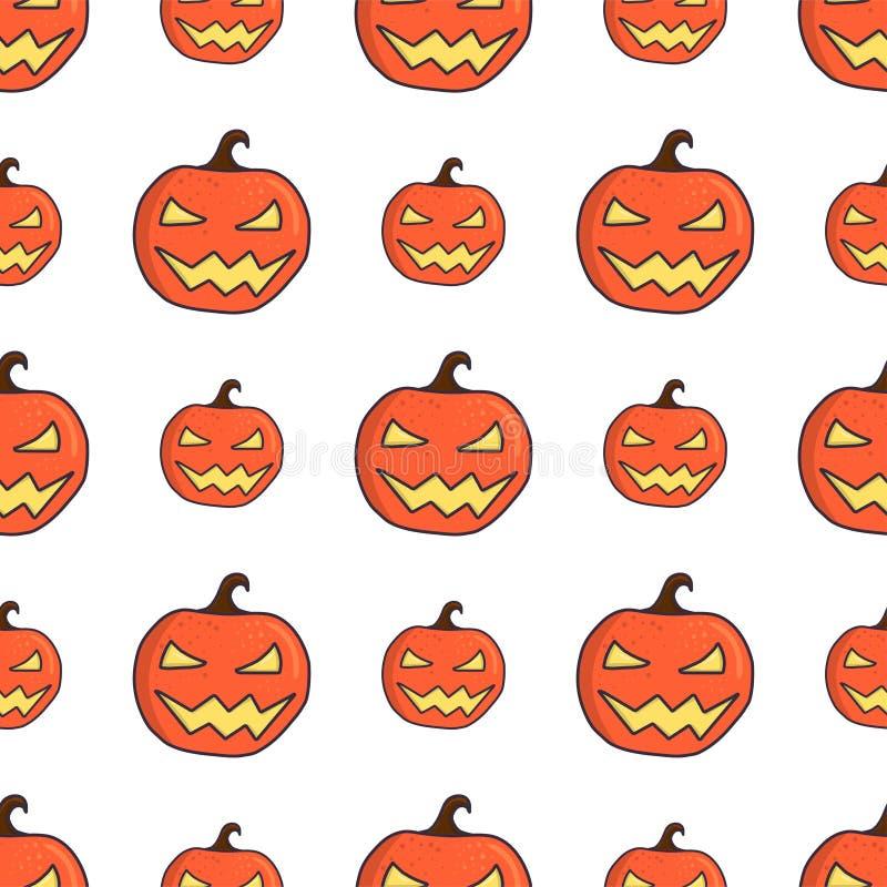 Caricatura tallada calabaza de Halloween sin fisuras libre illustration