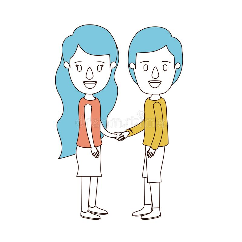 Caricature color sections and blue hair of full body couple in casual clothing handshake stock illustration