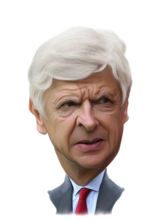 Caricature d'Arsène Wenger illustration de vecteur