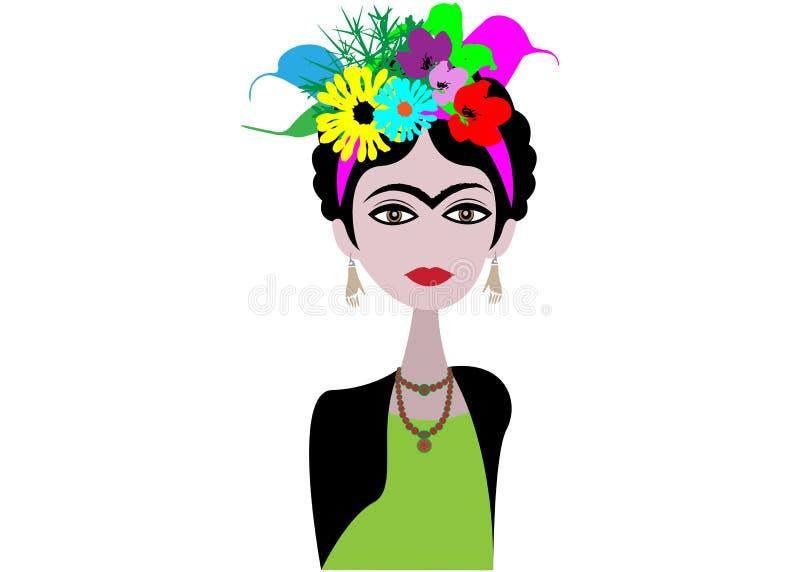 Caricature d'artiste Frida Kahlo Artiste mexicaine de femme avec la coiffure et fleurs dans le style plat Portrait de vecteur d'i illustration libre de droits