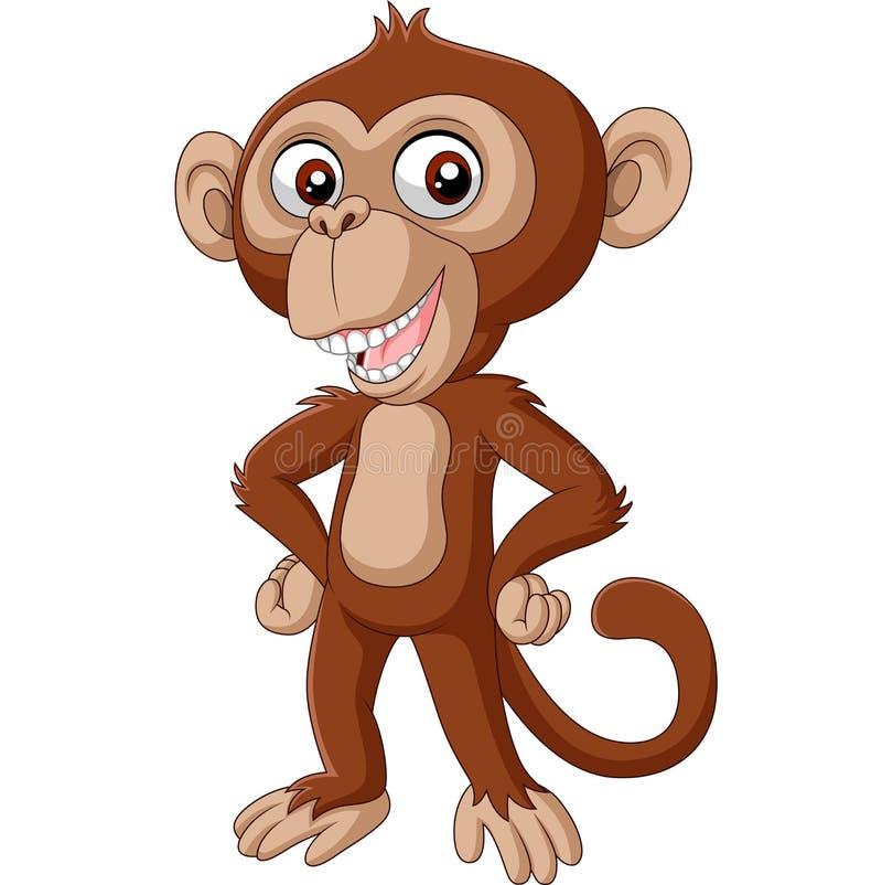 Caricature de bébé chimpanzé posant illustration libre de droits