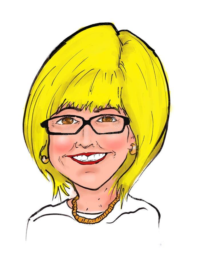 Caricature de bande dessinée de Blonde Woman Smiling de patron illustration stock