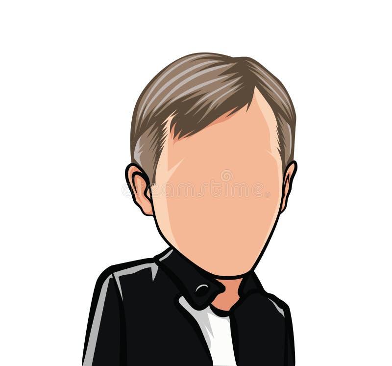 Caricature de bande dessinée d'un portrait, grande tête, avatar illustration de vecteur
